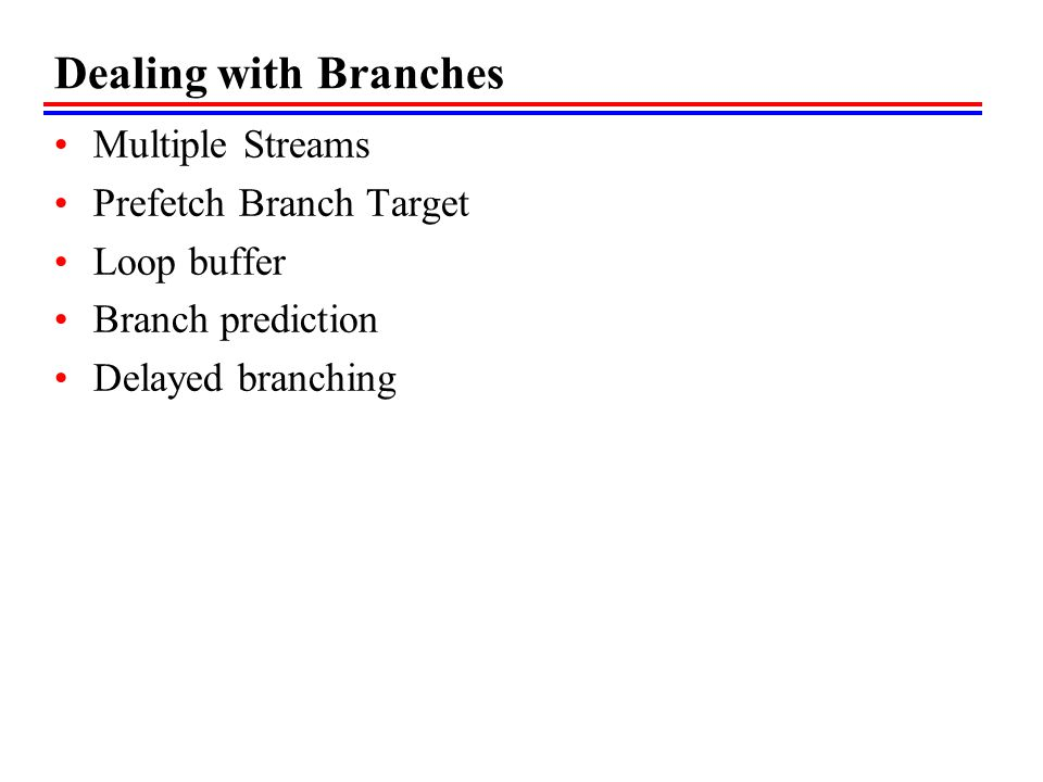 Dealing with Branches Multiple Streams Prefetch Branch Target