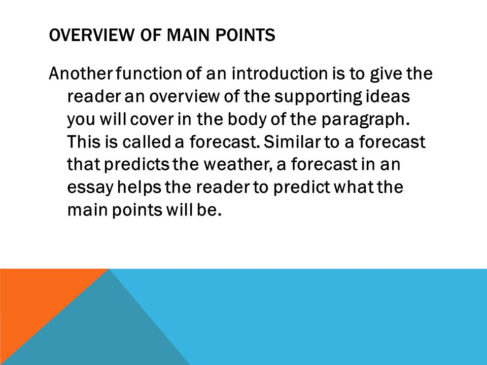 Overview of Main Points