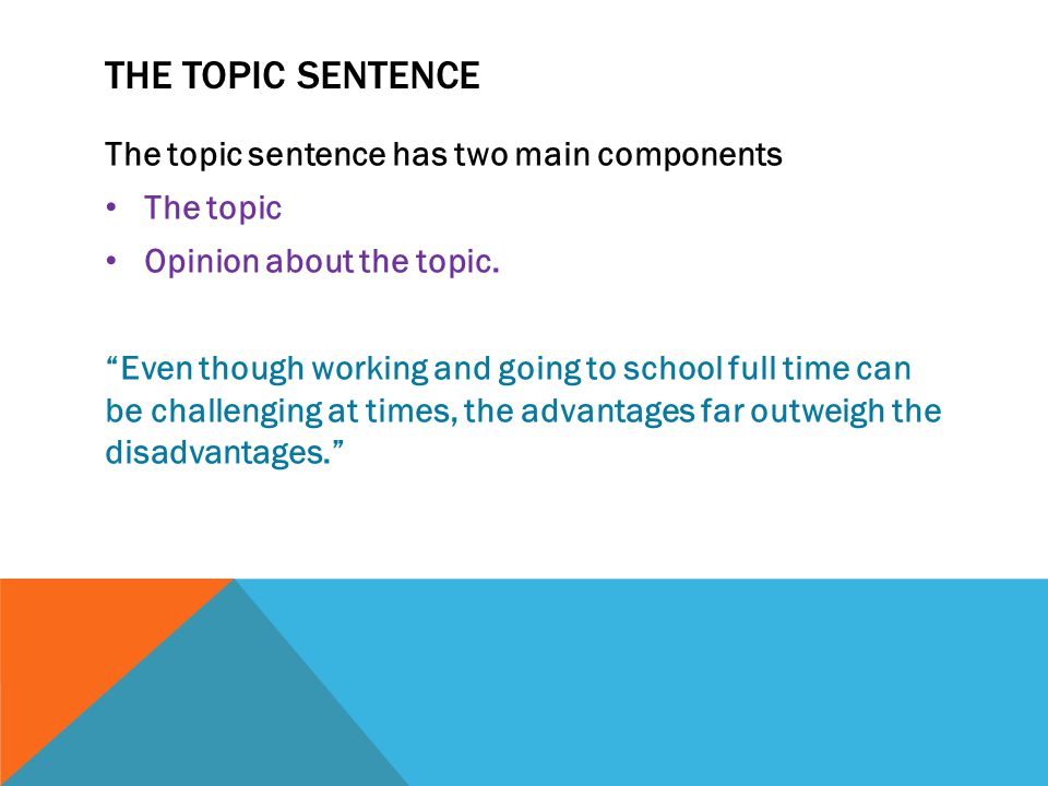 The Topic Sentence The topic sentence has two main components