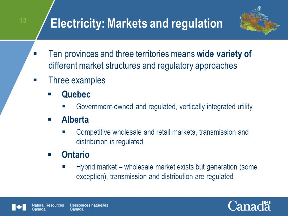 Energy Regulation And Markets In Canada Electricity And Natural
