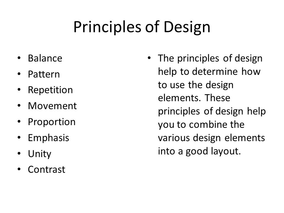 Principles of Design Balance Pattern Repetition Movement Proportion