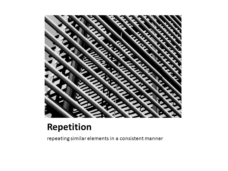Repetition repeating similar elements in a consistent manner