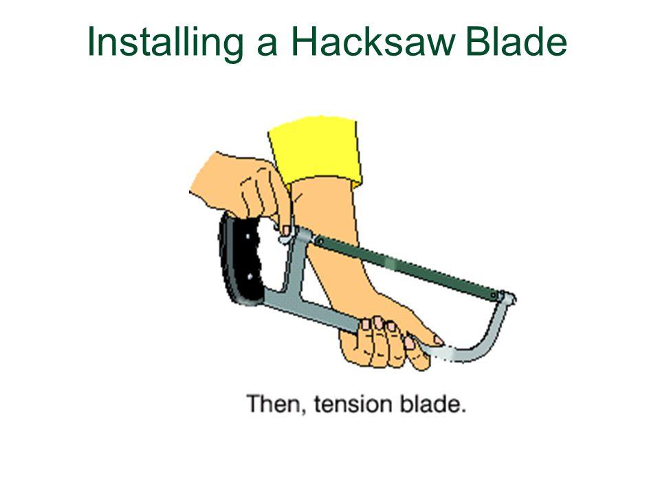 Using metal cutting processes and techniques ppt download 42 installing a hacksaw blade keyboard keysfo Choice Image