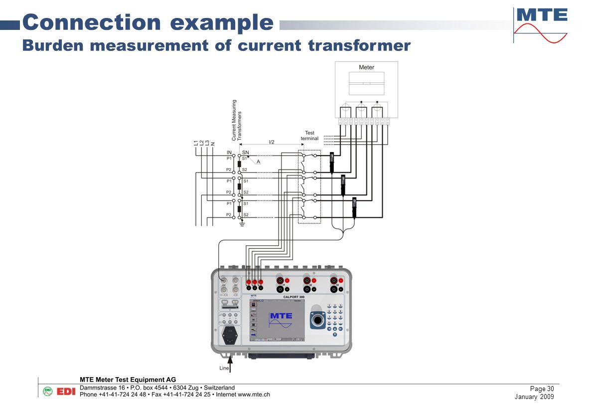 30 Connection example Burden measurement of current transformer