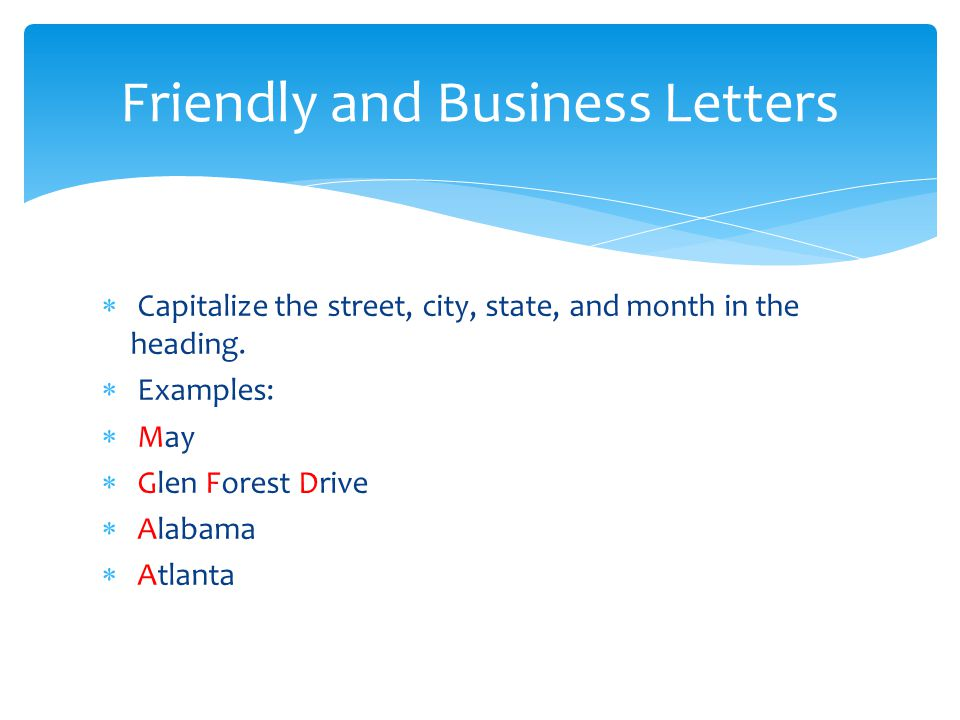 Friendly and Business Letters