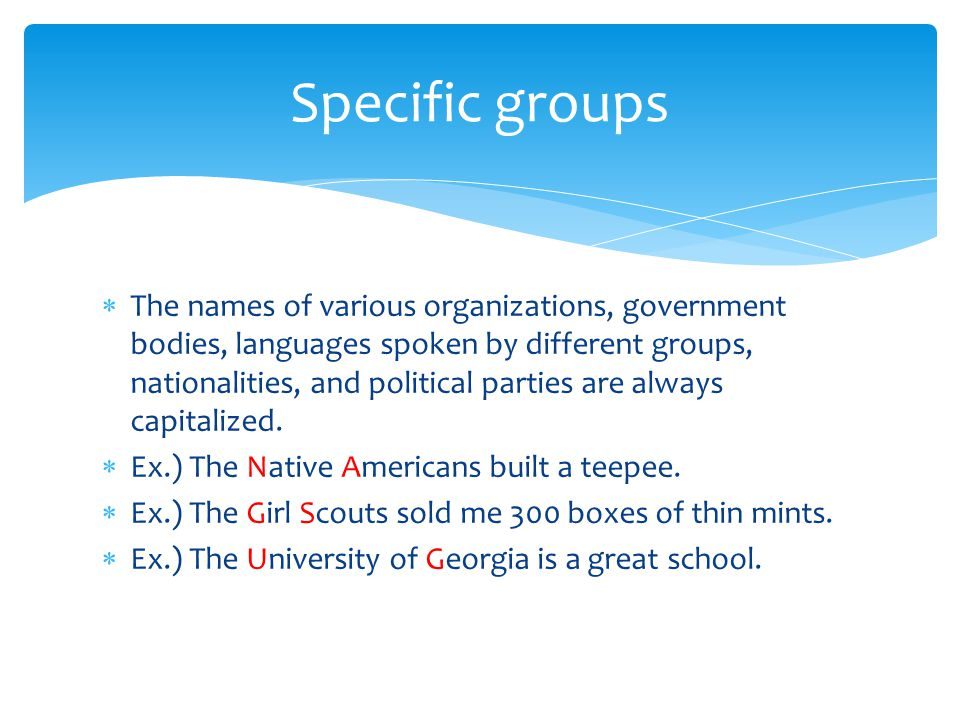 Specific groups