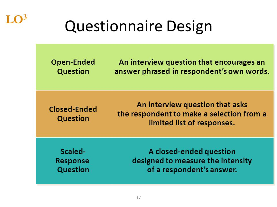 Questionnaire Design LO3 Open-Ended Question Closed-Ended