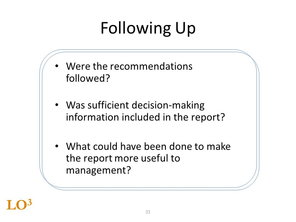 Following Up LO3 Were the recommendations followed