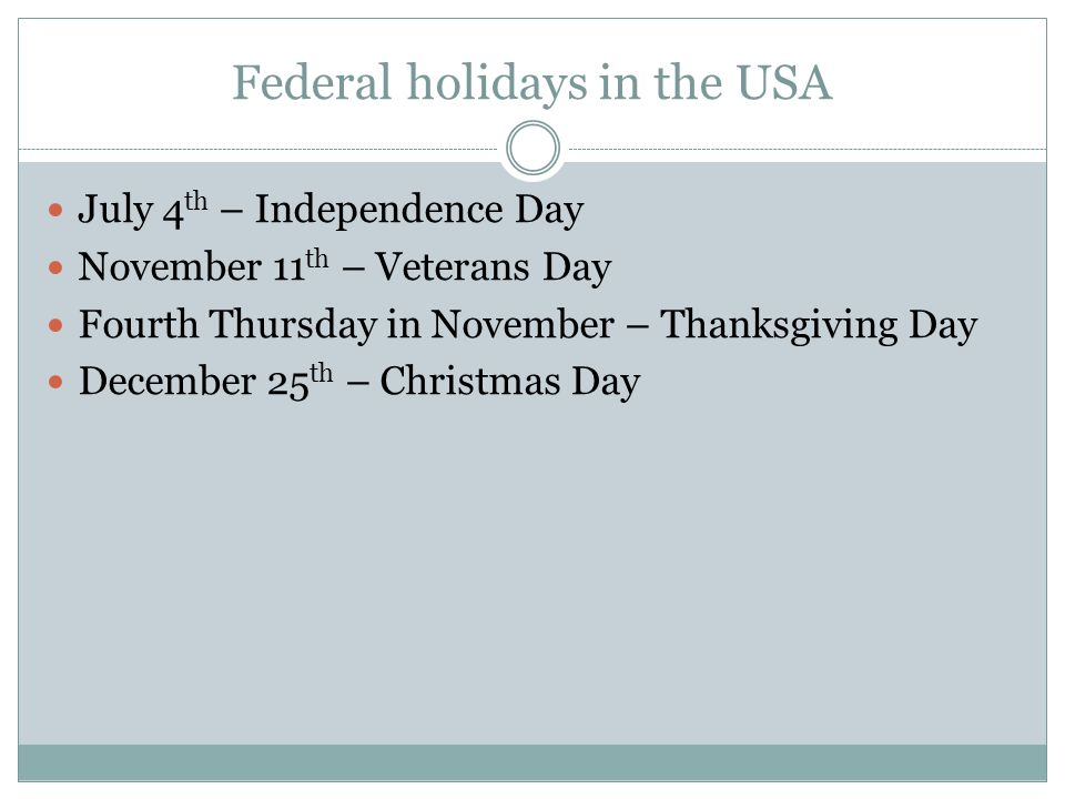 Federal holidays in the USA