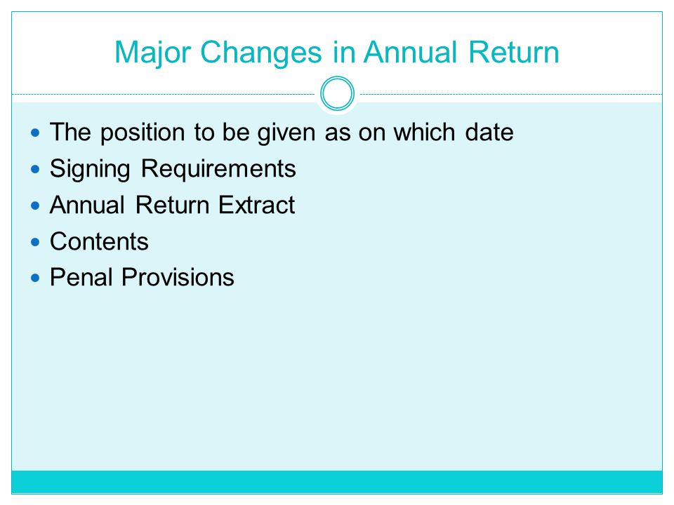 Major Changes in Annual Return