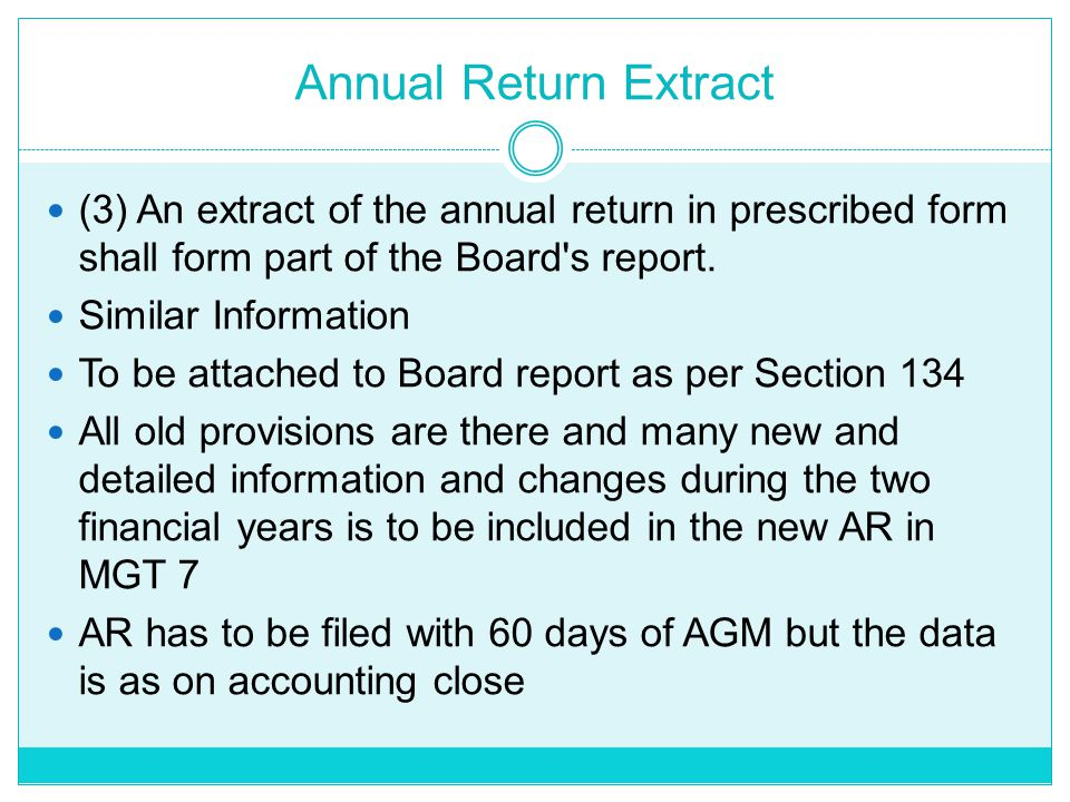 Annual Return Extract (3) An extract of the annual return in prescribed form shall form part of the Board s report.