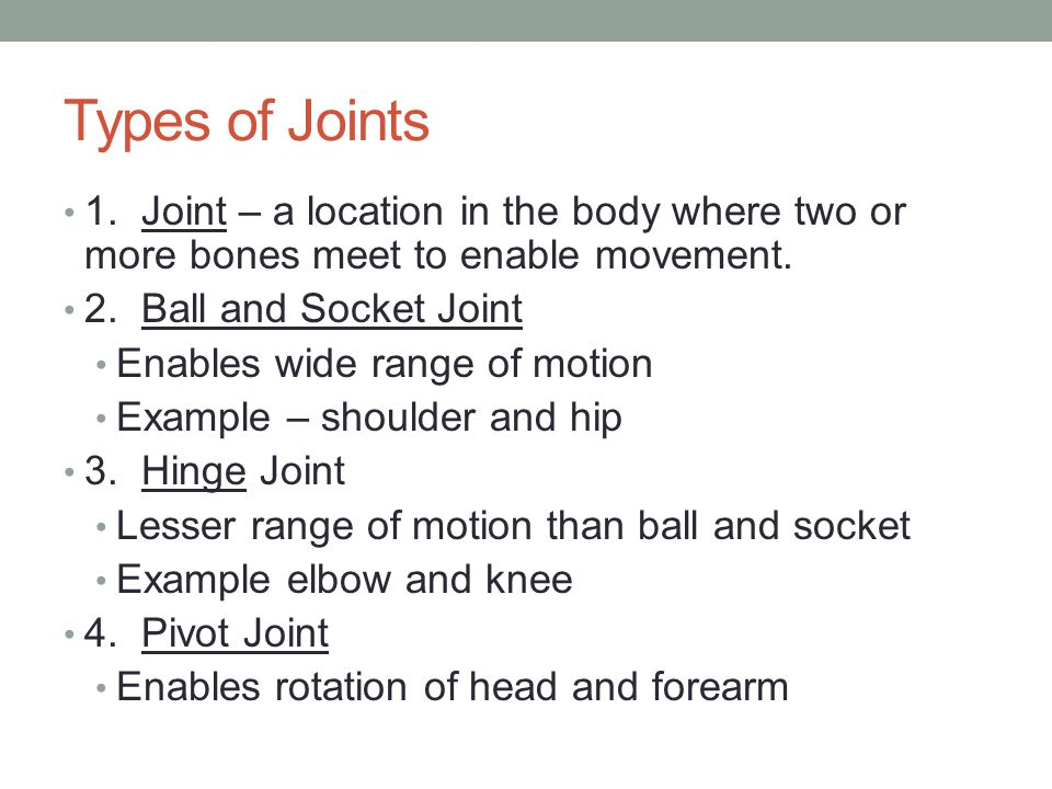 Types of Joints 1. Joint – a location in the body where two or more bones meet to enable movement.