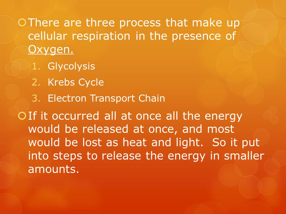 There are three process that make up cellular respiration in the presence of Oxygen.