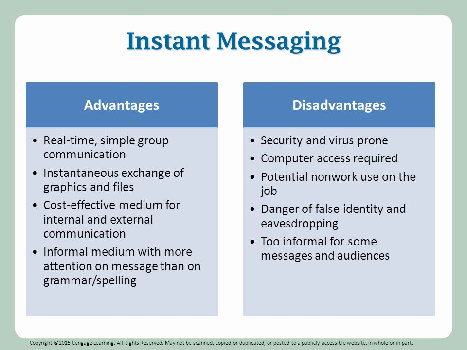 advantages and disadvantages of instant messaging in business