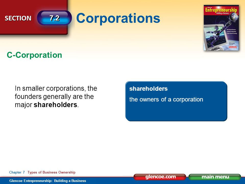 C-Corporation In smaller corporations, the founders generally are the major shareholders. shareholders.
