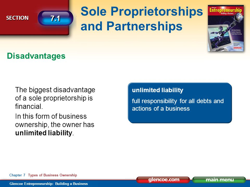 Disadvantages The biggest disadvantage of a sole proprietorship is financial. In this form of business ownership, the owner has unlimited liability.
