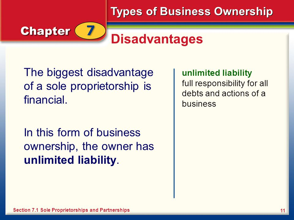 Disadvantages The biggest disadvantage of a sole proprietorship is financial.