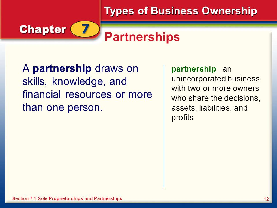 Partnerships A partnership draws on skills, knowledge, and financial resources or more than one person.