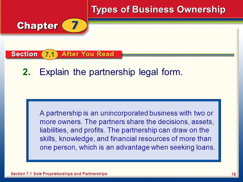Explain the partnership legal form.