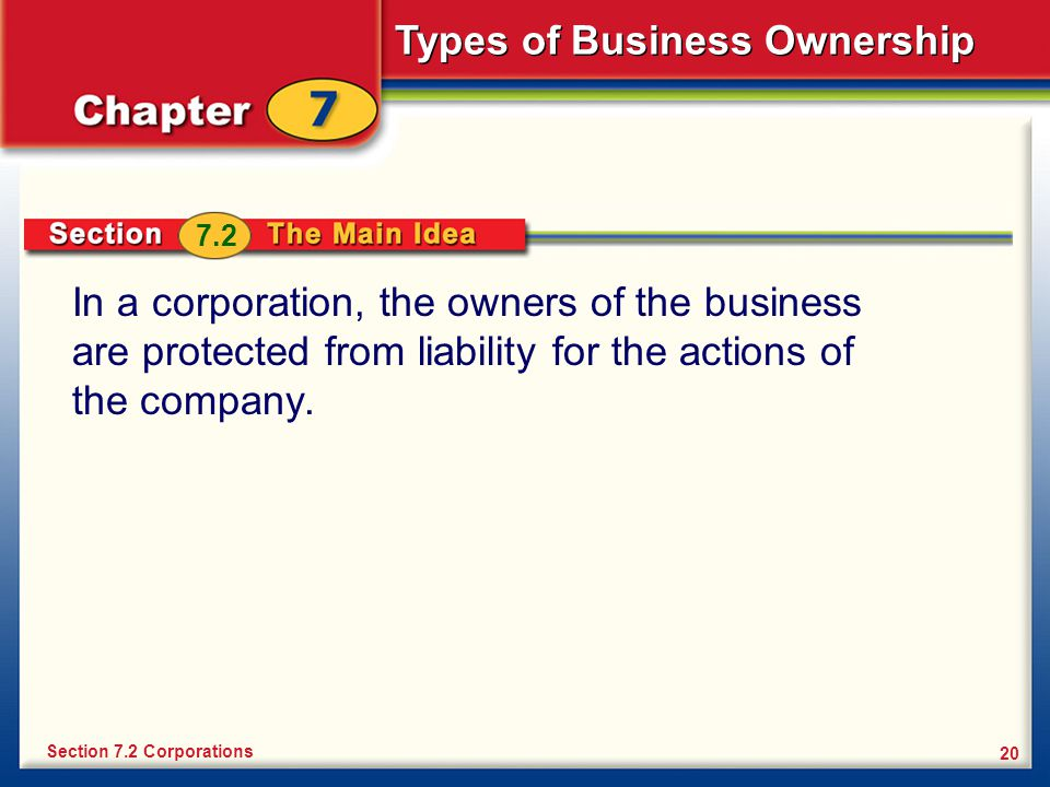 7.2 In a corporation, the owners of the business are protected from liability for the actions of the company.