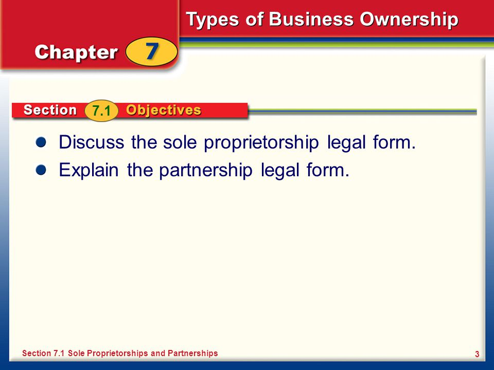 Discuss the sole proprietorship legal form.