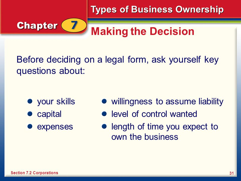 Making the Decision Before deciding on a legal form, ask yourself key questions about: your skills.
