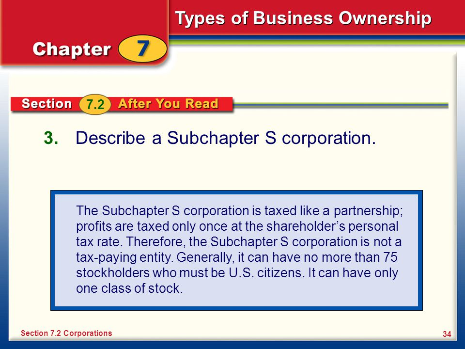 Describe a Subchapter S corporation.