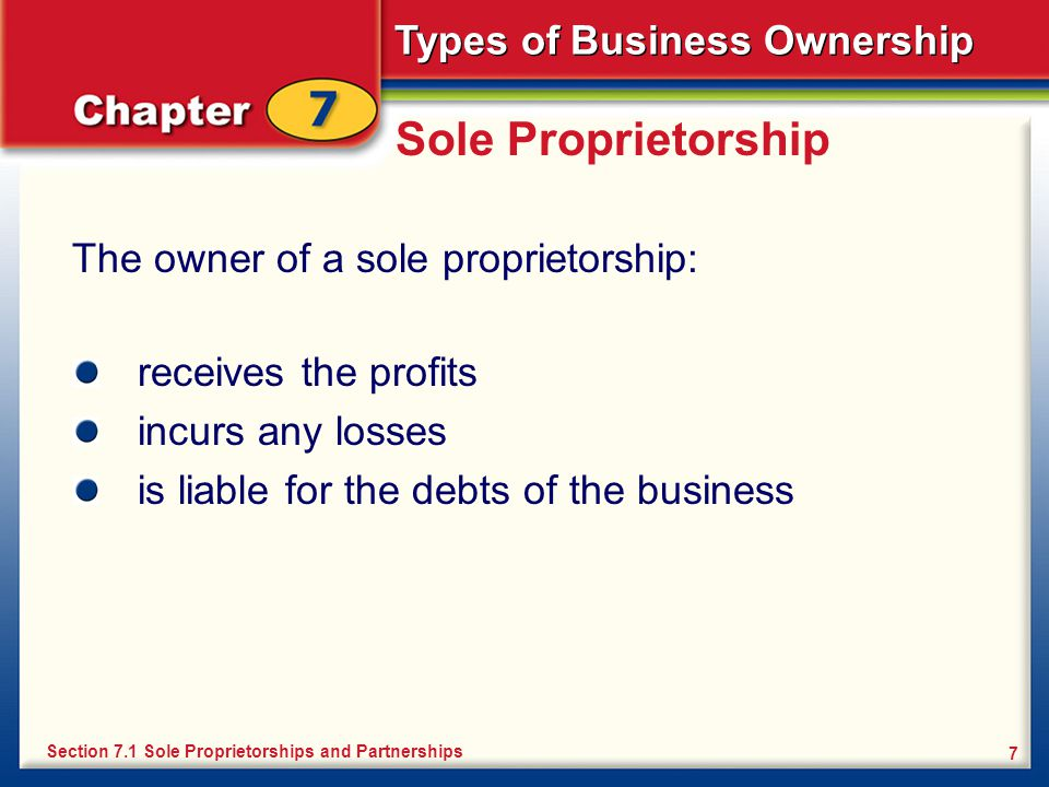 Sole Proprietorship The owner of a sole proprietorship: