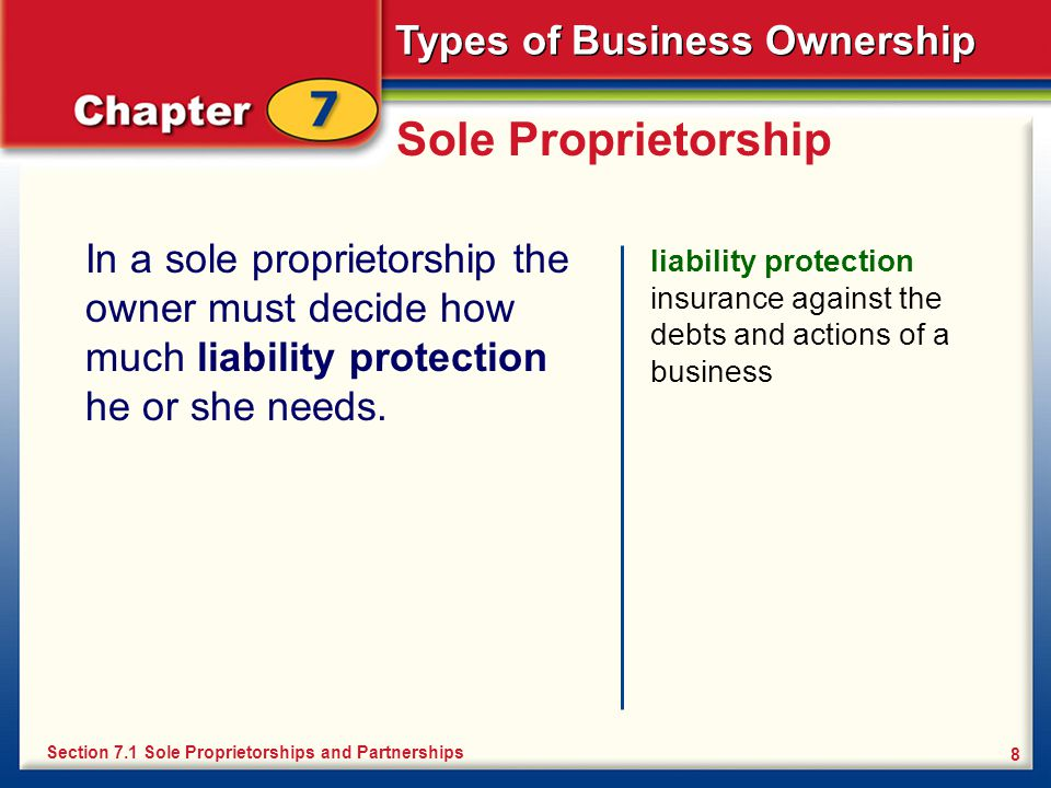 Sole Proprietorship In a sole proprietorship the owner must decide how much liability protection he or she needs.