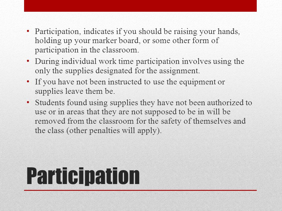 Participation, indicates if you should be raising your hands, holding up your marker board, or some other form of participation in the classroom.