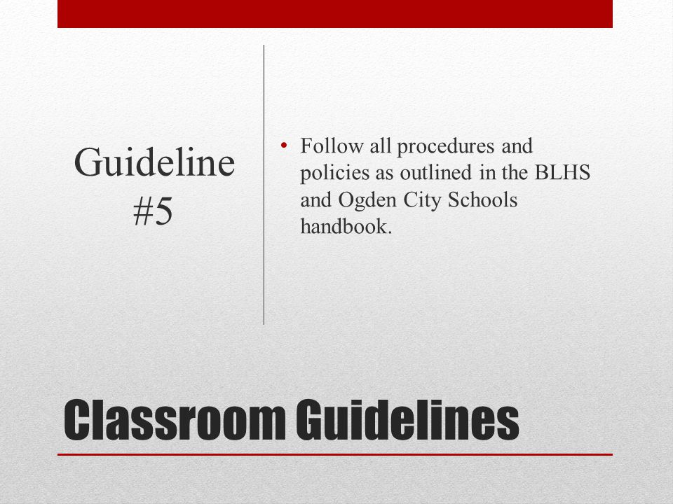 Classroom Guidelines Guideline #5