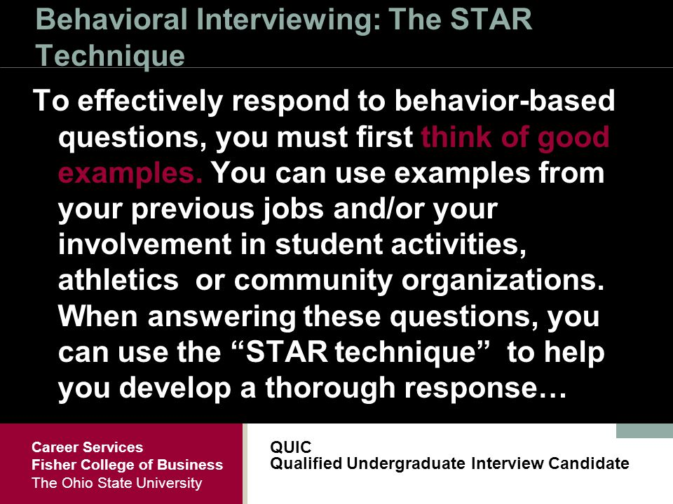 qualified undergraduate interview candidate quic ppt download