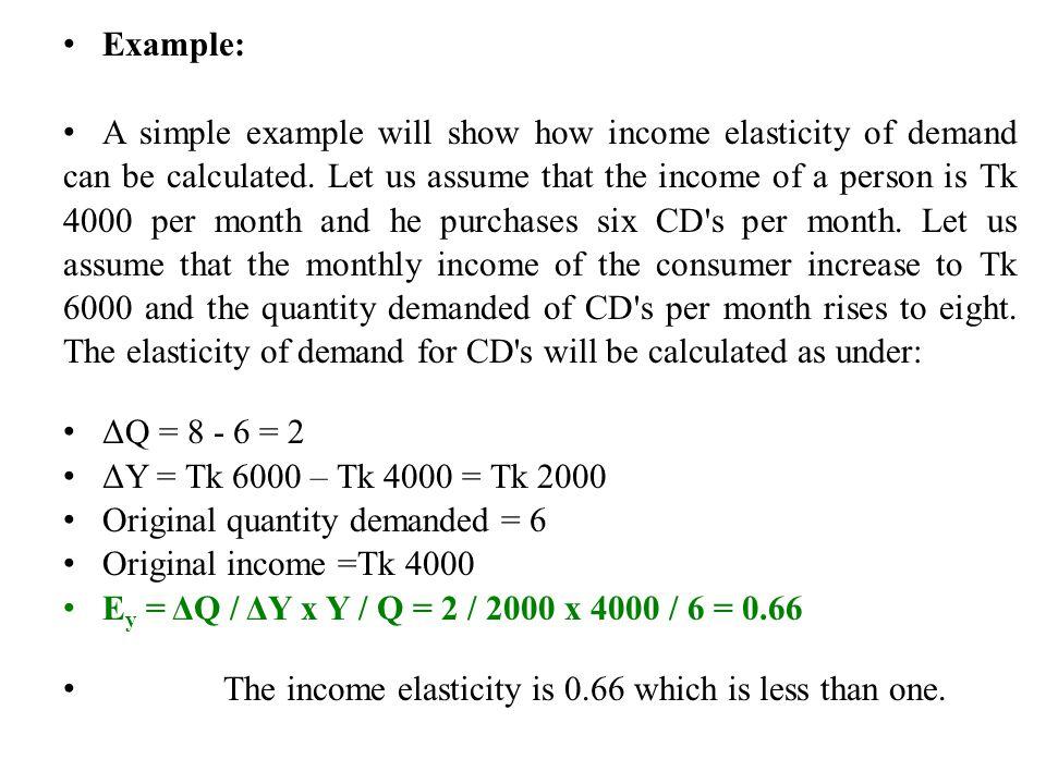 arc income elasticity of demand