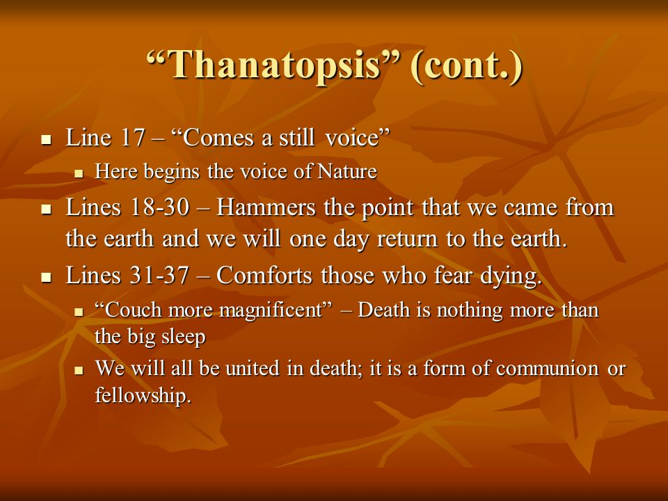 thanatopsis meaning