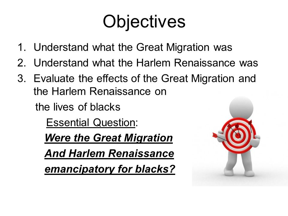 Objectives Understand what the Great Migration was