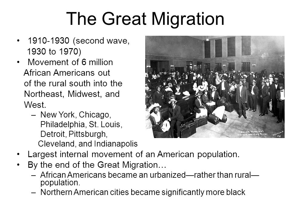 The Great Migration (second wave, 1930 to 1970)