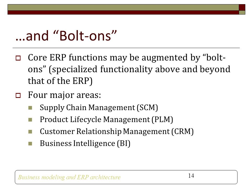 …and Bolt-ons Core ERP functions may be augmented by bolt-ons (specialized functionality above and beyond that of the ERP)