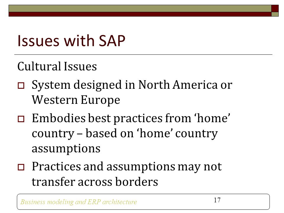 Issues with SAP Cultural Issues