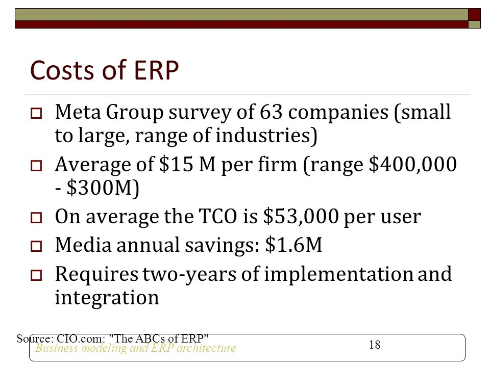 Costs of ERP Meta Group survey of 63 companies (small to large, range of industries) Average of $15 M per firm (range $400,000 - $300M)