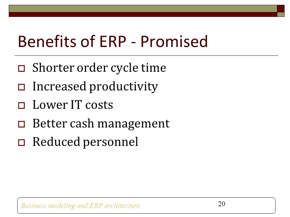 Benefits of ERP - Promised