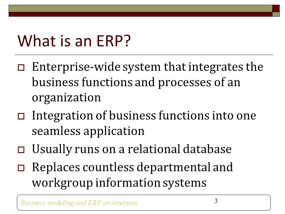What is an ERP Enterprise-wide system that integrates the business functions and processes of an organization.