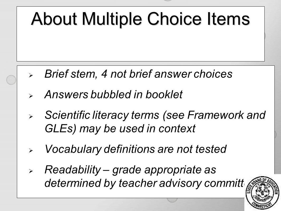 43 About Multiple Choice Items Brief Stem 4 Not