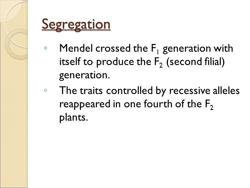 Segregation Mendel crossed the F1 generation with itself to produce the F2 (second filial) generation.