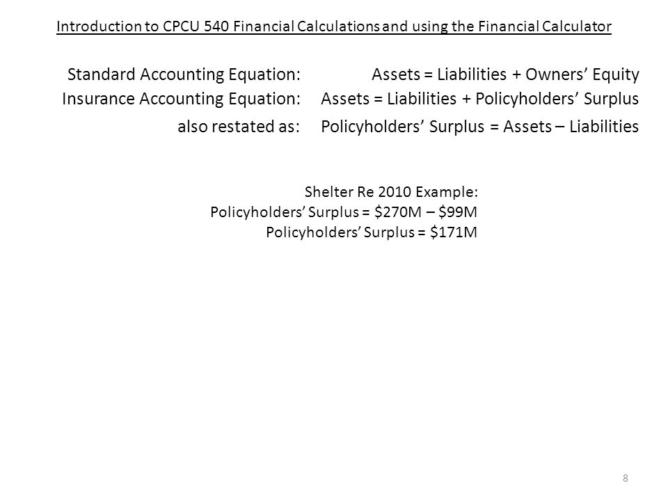 CPCU 540 – Finance and Accounting for Insurance