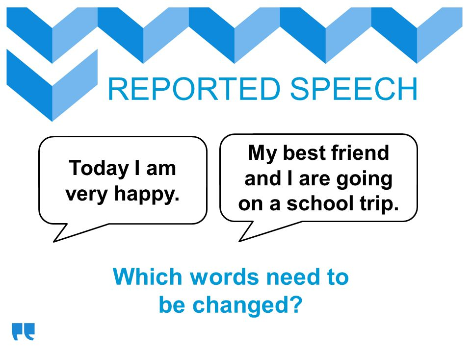 REPORTED SPEECH Which words need to be changed