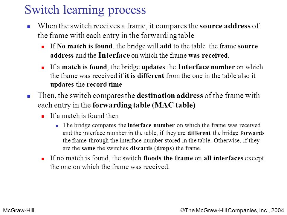 Switch learning process
