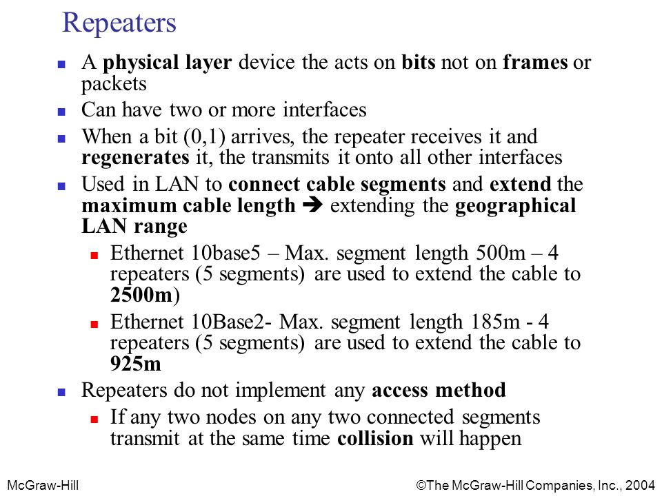 Repeaters A physical layer device the acts on bits not on frames or packets. Can have two or more interfaces.