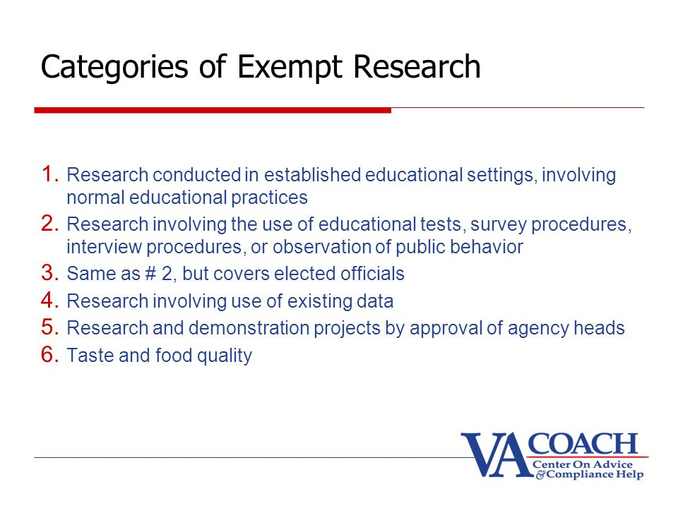 Categories of Exempt Research