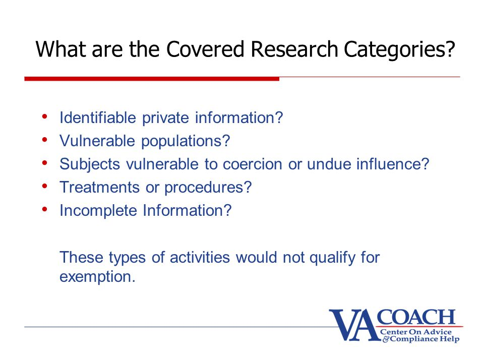 What are the Covered Research Categories