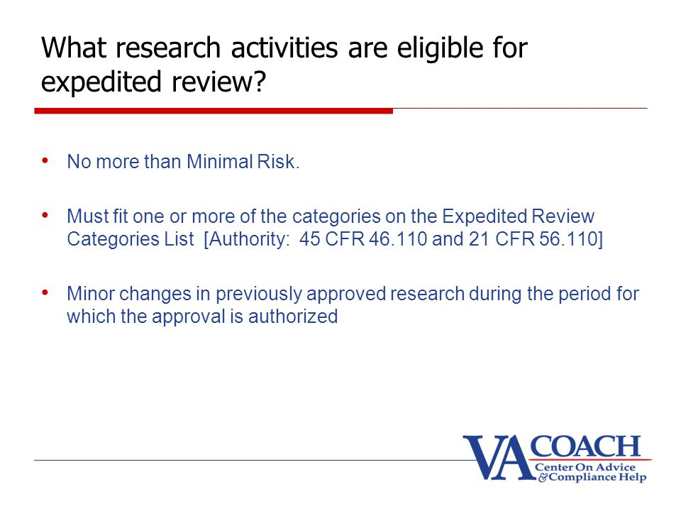 What research activities are eligible for expedited review